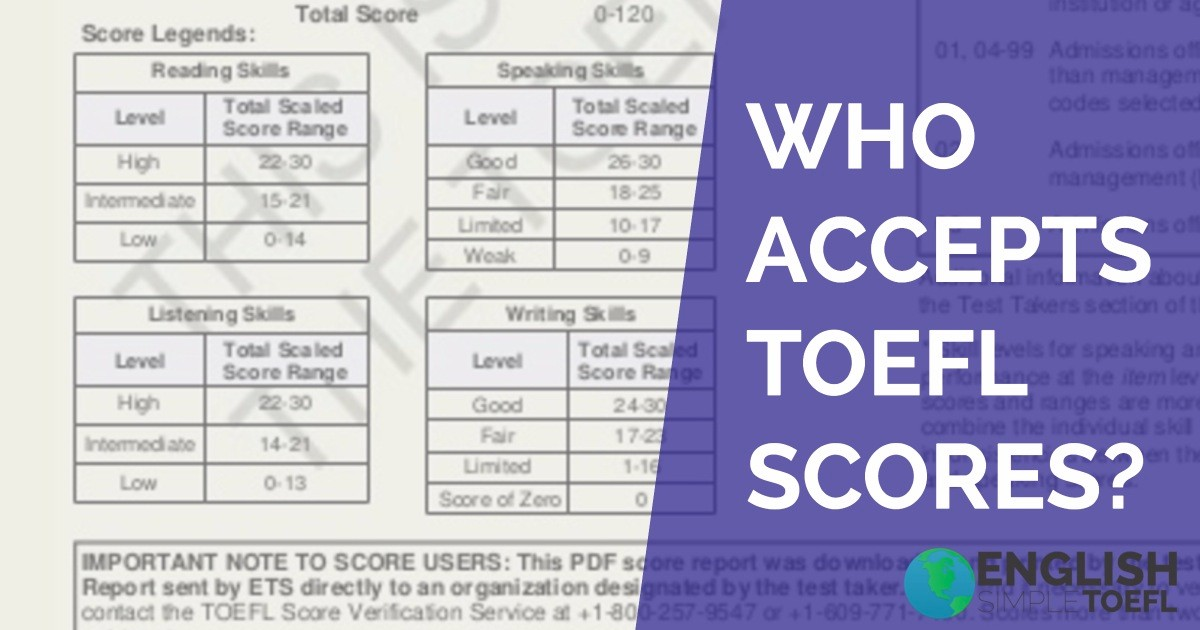Photo for blog who accepts TOEFL scores